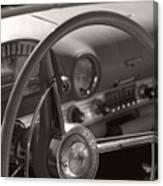 Black And White Thunderbird Steering Wheel  Canvas Print