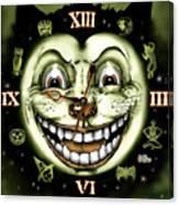 Black Cat 13 Halloween Clock Canvas Print