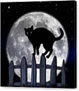Black Cat And Full Moon 3 Canvas Print