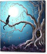 Black Cat In A Haunted Tree Canvas Print