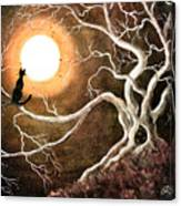 Black Cat In A Spooky Old Tree Canvas Print