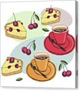 Black Cherry Pie And A Steaming Hot Cup Of Coffee Canvas Print