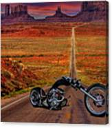 Black Chopper At Monument Valley Canvas Print