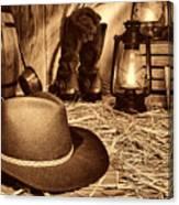 Black Cowboy Hat In An Old Barn Canvas Print