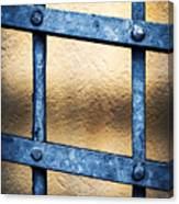 Black Forged Iron Grating With Rivets Canvas Print