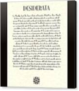 Black Border Sunburst Desiderata Poem Canvas Print