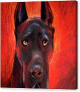 Black Great Dane Dog Painting Canvas Print