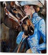 Black Horse And Cowgirl   Canvas Print