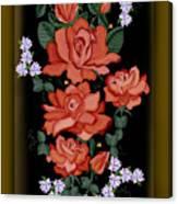 Black Lacquer Roses Canvas Print