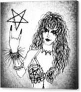 Black Metal Girl. Sofia Metal Queen. Sketch  Canvas Print