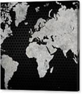 Black Metal Industrial World Map Canvas Print