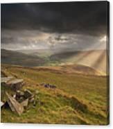 Black Mountains Light Rays Canvas Print
