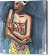Black On Blue Canvas Print