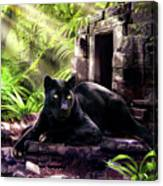Black Panther Custodian Of Ancient Temple Ruins  Canvas Print