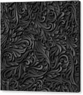 Black Paper Floral Seamless Pattern Canvas Print