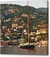 Black Sailboat At Villefranche II Canvas Print