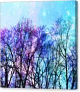 Black Trees Bright Pastel Space Canvas Print