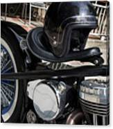 Black Vintage Style Motorcycle With Chrome And Black Helmet Canvas Print