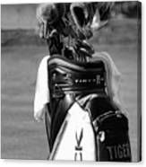 Black White Tiger Woods Bag Clubs  Canvas Print