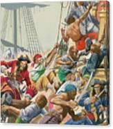 Blackbeard And His Pirates Attack Canvas Print