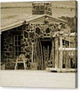 Blacksmith Shop 1867 Cove Creek Fort Utah Photograph In Sepia Canvas Print