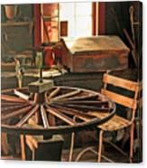 Blacksmith Shop Wheel Repair At Old World Wisconsin Canvas Print