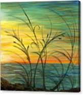 Blazing Sunrise And Grasses In Blue Canvas Print