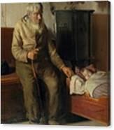Blind Kristian Minding A Child Canvas Print