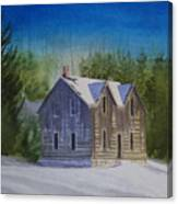 Blind River Homestead In Winter Canvas Print