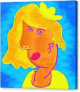 Blond Girl In A Yellow Hat Cubism Style Canvas Print