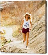 Blond Woman Trail Runner Canvas Print