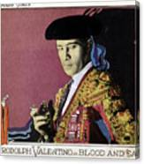 Blood And Sand, Rudolph Valentino, 1922 Canvas Print