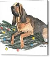 Blood Hound Christmas Canvas Print