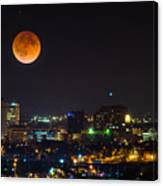 Blood Moon Over Downtown Canvas Print