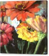 Blooming Zinnias Canvas Print