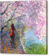 Blossom Alley Impressionistic Painting Canvas Print