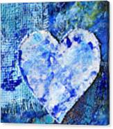 Blue Abstract Painting With Heart Canvas Print