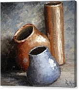 Blue And Brown Pots Canvas Print