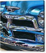 Blue And Chrome Chevy Pickup Front End Canvas Print