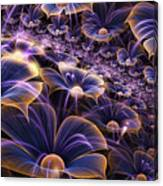 Blue And Gold Fractal Flowers Canvas Print