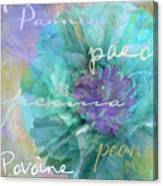 Blue And Purple Peony Canvas Print