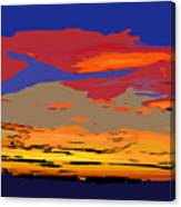 Blue And Red Ocean Sunset Canvas Print