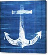 Blue And White Anchor- Art By Linda Woods Canvas Print
