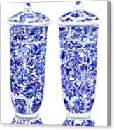 Blue And White Chinoiserie Vases Canvas Print