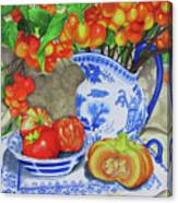 Blue And White Porcelain With Cherries Canvas Print
