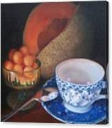 Blue And White Teacup And Melon Canvas Print
