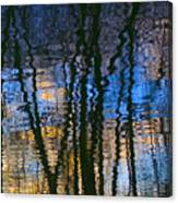 Blue And Yellow Abstract Reflections Canvas Print