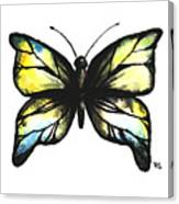 Blue And Yellow Watercolor Butterfly Canvas Print