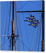 Blue Angels Pass Behind Masts Of The Balclutha At Hyde Street Pier Canvas Print