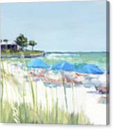 Blue Beach Umbrellas On Point Of Rocks, Crescent Beach, Siesta Key Wide-narrow Canvas Print